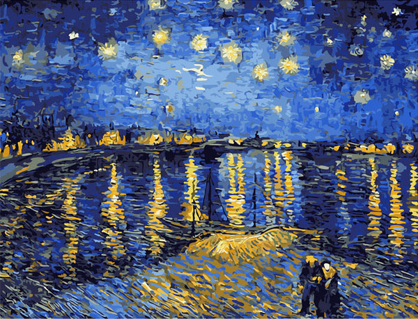 Starry Night Sky Rhone River Paint-By-Number Kit
