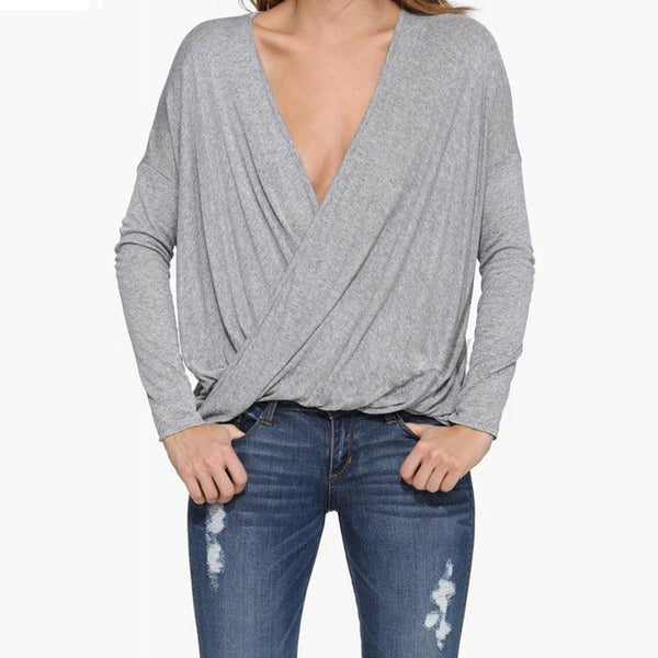 Chic Loose Deep V-neck Pullover Shirt,  - By Classier