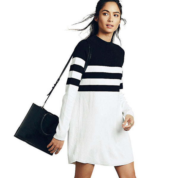 Block Striped Mini Dress Long Sleeve, Dresses - By Classier