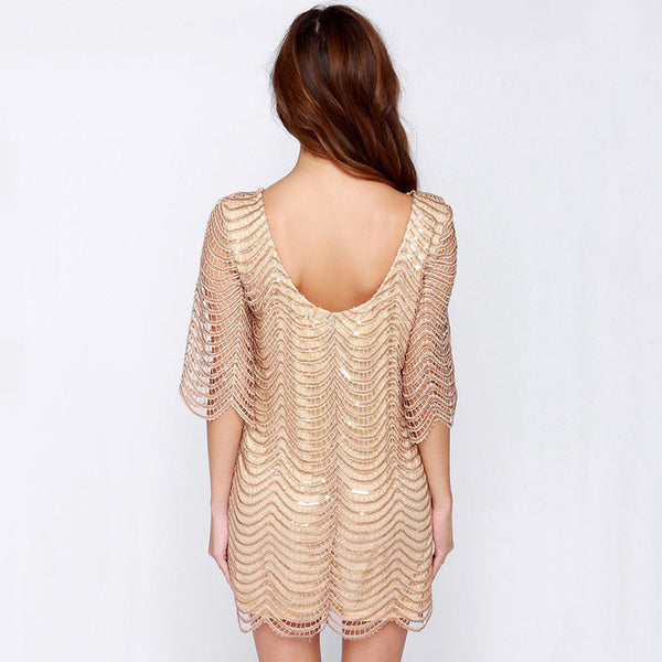 Cut Out Sequin Mesh Straight Dress, Dresses - By Classier