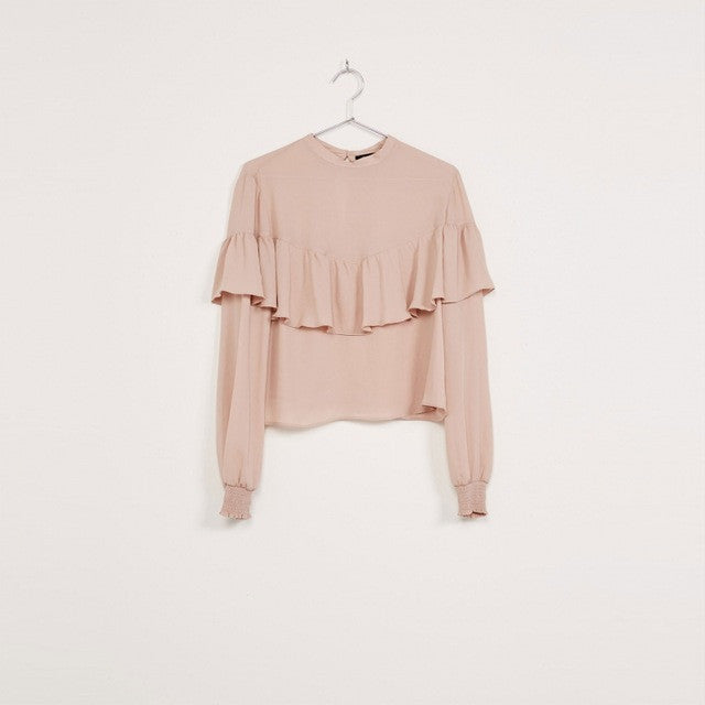 Ruffles Long Sleeve Female Chiffon Shirt,  - By Classier