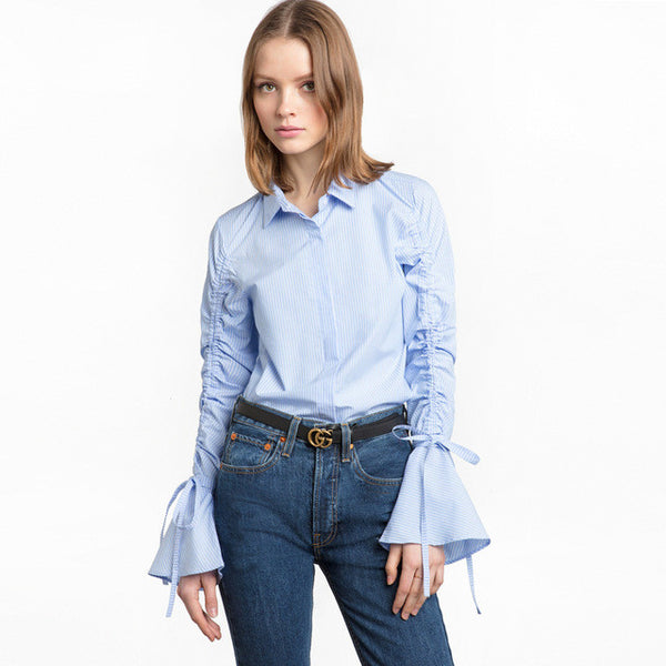 Sweet Striped Casual Blouse Turn-down Collar,  - By Classier