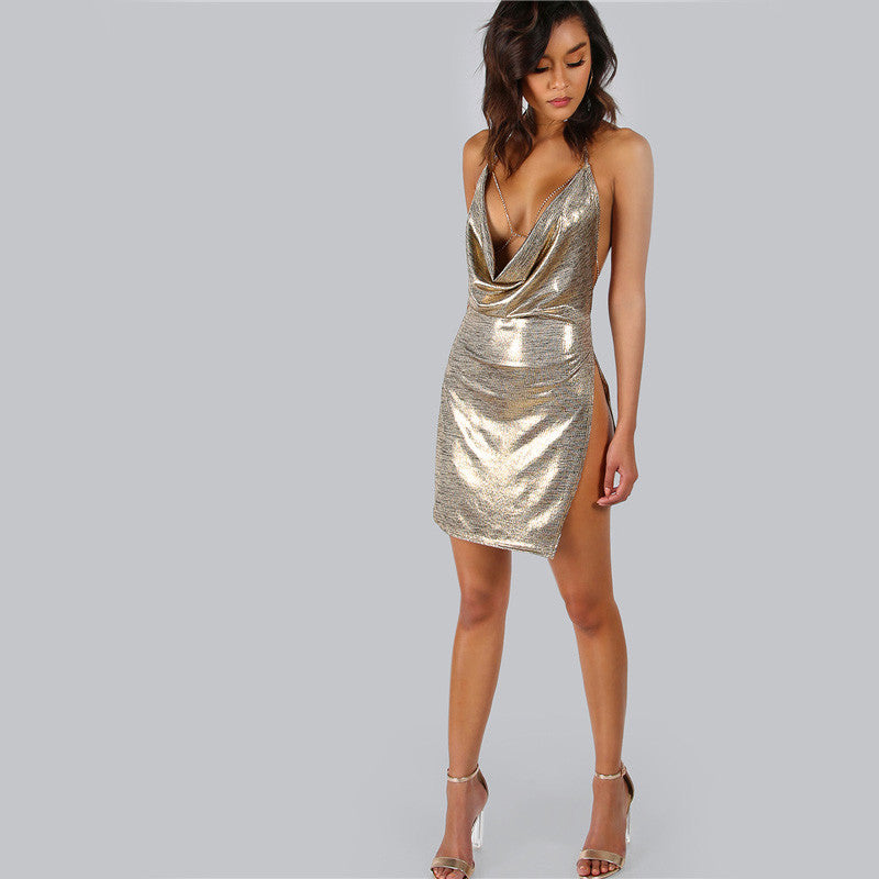 Gold Metallic Deep Plunge Party Bodycon Dress