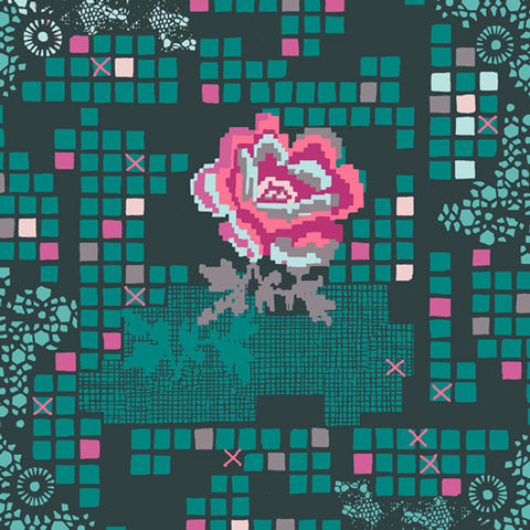 Rose Circuit Teal - Grid Fabric Collection - Katarina Roccella