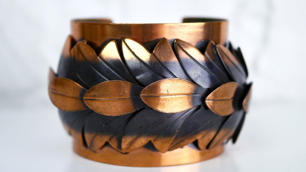 Vintage Copper Jewelry - Rebajes Copper Cuff Bracelet in Leaves Motif