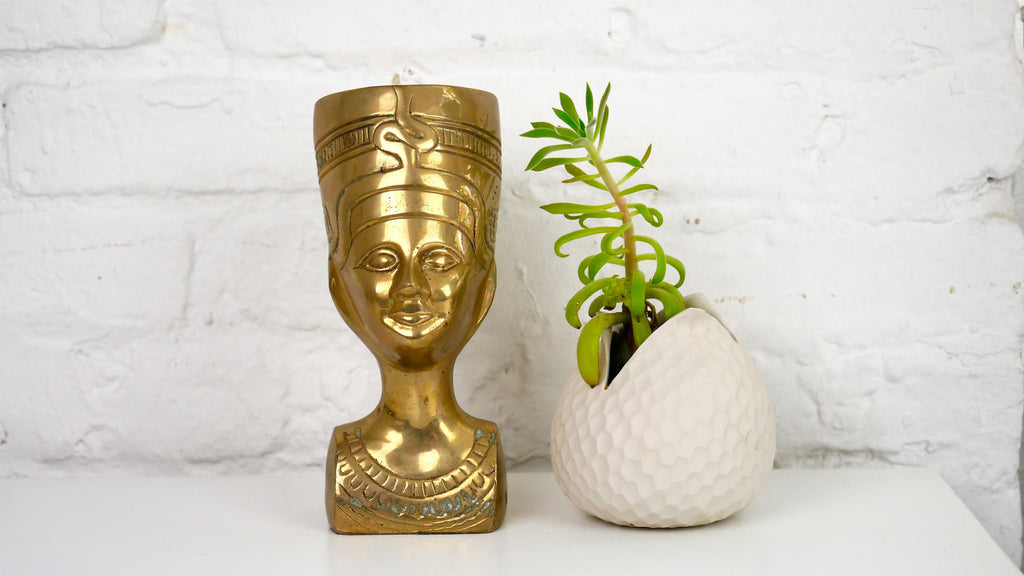 Vintage Brass Nefertiti Bust Egyptian Head