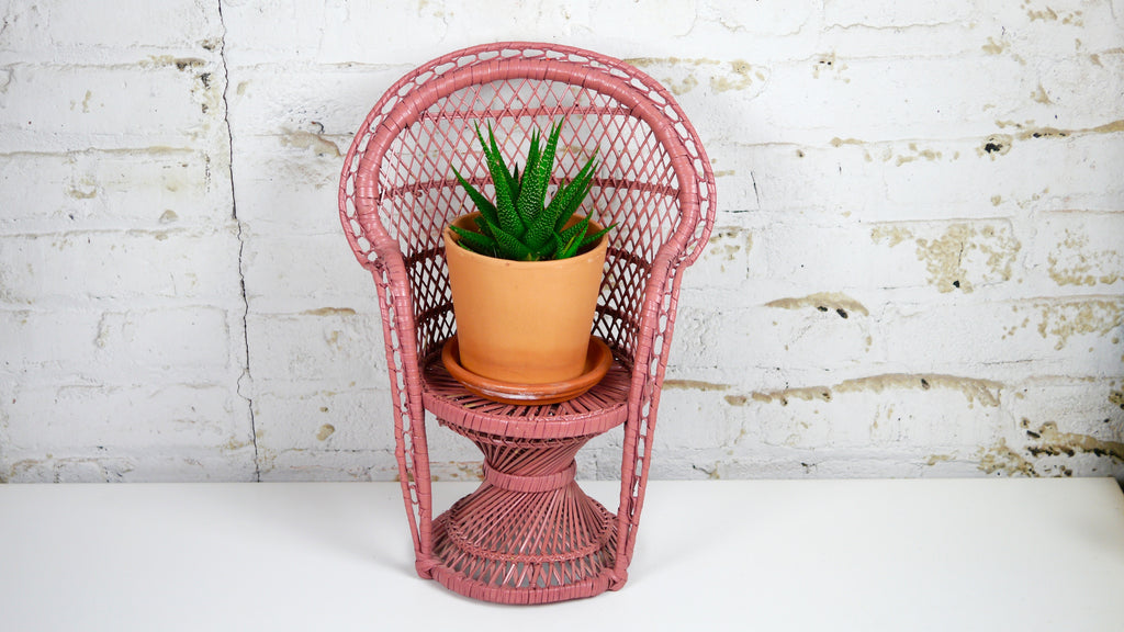 Vintage Pink Wicker Peacock Chair Plant Stand