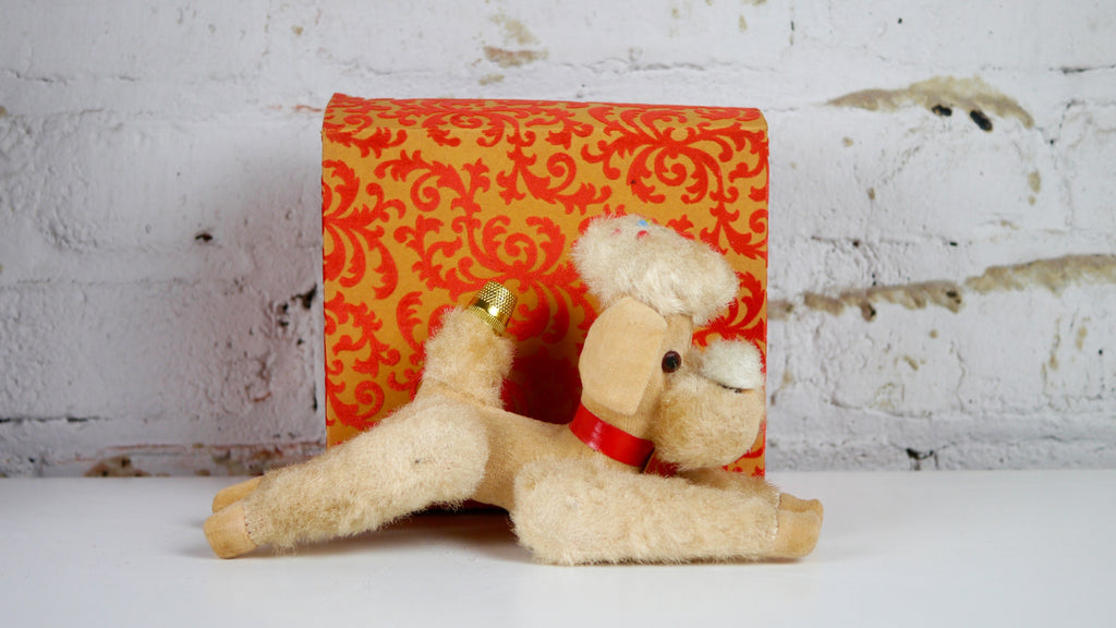Vintage Pin Cushion - Plush Poodle with Thimble and Measuring Tape