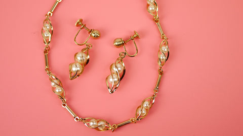 Vintage Mid Century Jewelry Set - Sarah Coventry Swirling Pearls Necklace and Screw Back Earring 7703 and 8703