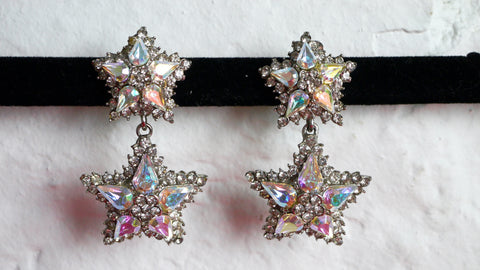 Vintage Thelma Deutsch Earrings Star Iridescent Clip On