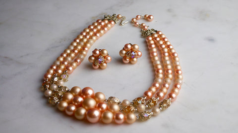 Vintage Mid Century Pastel Pink Beaded Triple Strand Necklace Clip on Earring set Japan