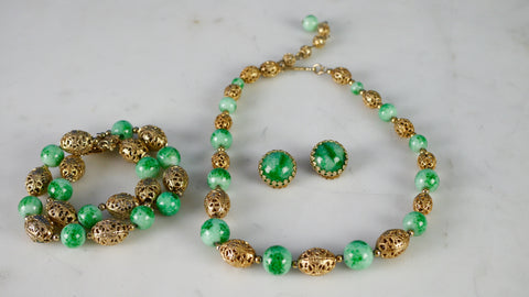 Mid Century Napier Faux Jade Necklace Earrings Bracelet 3 piece set parure