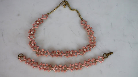 Vintage 1950s Pale Pink Enamel Flower Chain Necklace and Bracelet Rhinestone
