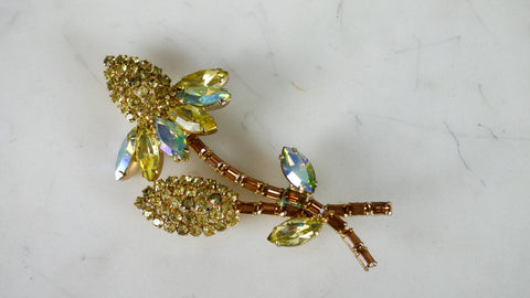 Vintage 1960s Weiss AB Rhinestone Flower Brooch Amber Yellow