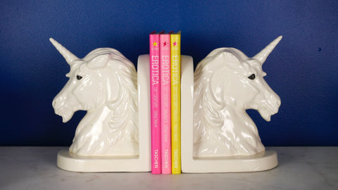 Vintage White Ceramic Unicorn Bookends