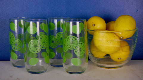 Vintage Lime Glasses Tumblers Set of 4 Anchor Hocking
