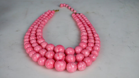 Vintage 1960s Coro Necklace Pink Beads Plastic Triple Strand Atomic