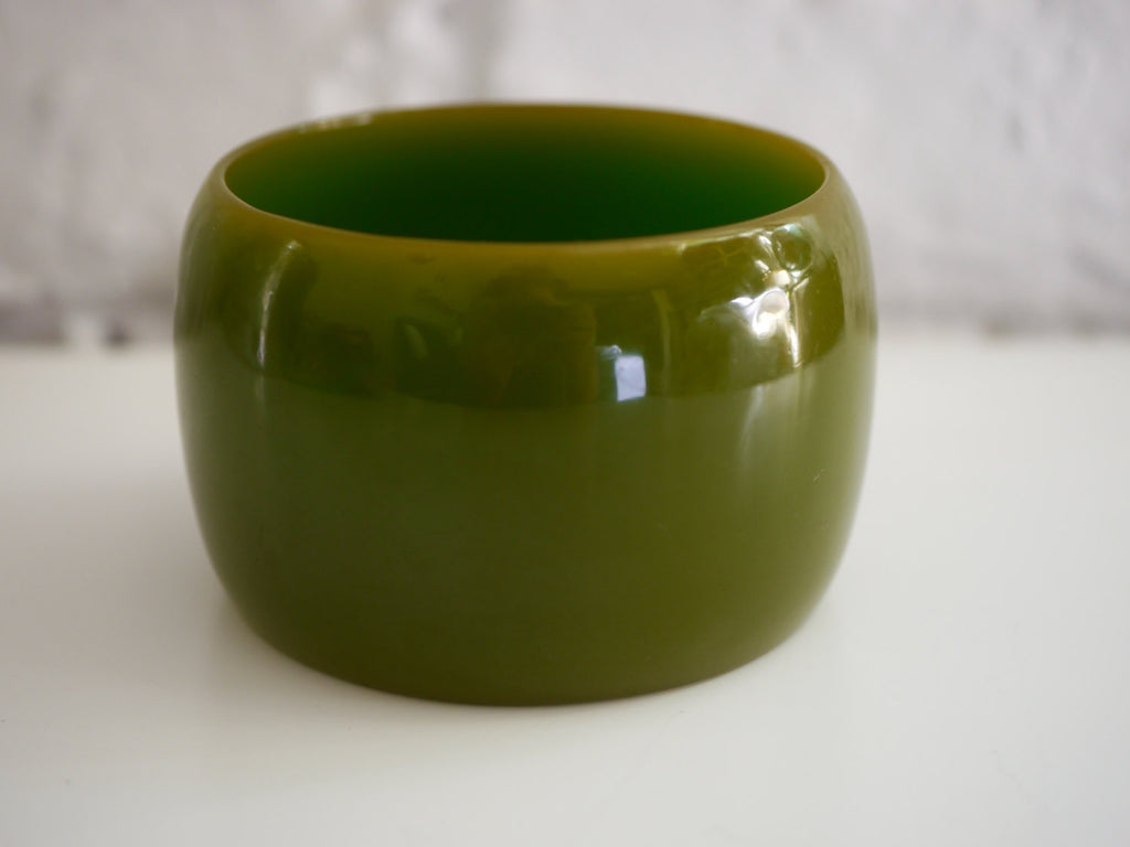 Bakelite Bangle Bracelet Wide Olive Green Cuff