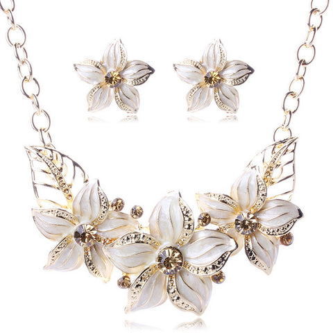 Crystal Enamel Flower Necklace  Set