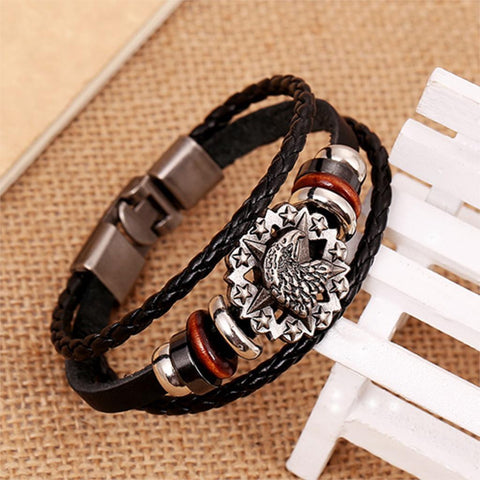Anchor Woven Leather Braid Bracelet
