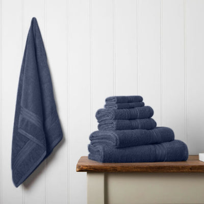 Our towel bale offers 7 Navy towels including 1 large bath sheet, 2 bath towels, 2 hand towels, 2 face cloths