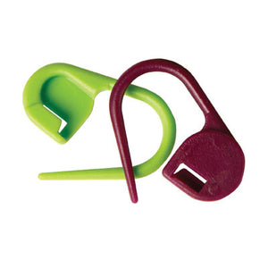 KnitPro Plastic Locking Stitch Markers in Green and Burgundy