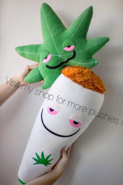 Stoned cannabis leaf plushie / pillow