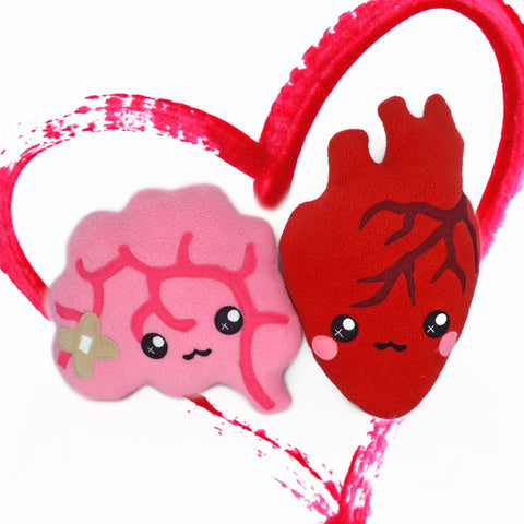 LOVE pack - heart and brain plushies kawaii novelty pillows