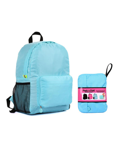 Pack n Fold Foldable Travel Backpack Blue - karlahanson.com