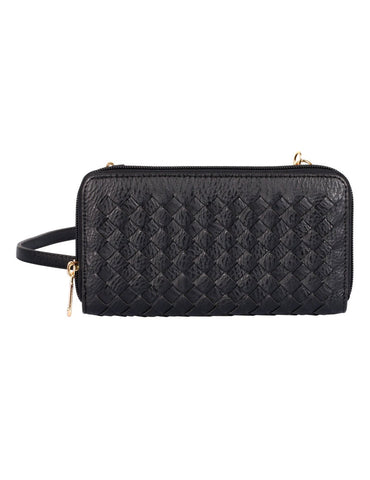 Elle RFID Blocking Woven Crossbody Phone Wallet Black - karlahanson.com