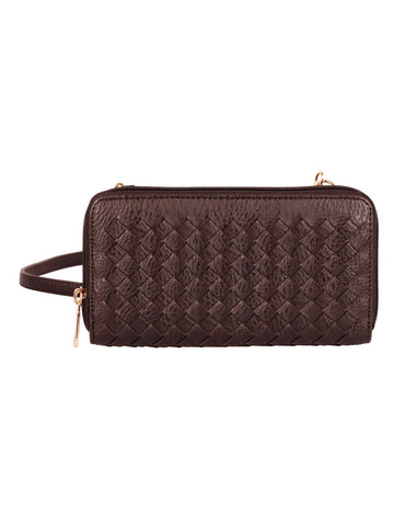 Elle RFID Blocking Woven Crossbody Phone Wallet Mahogany - karlahanson.com