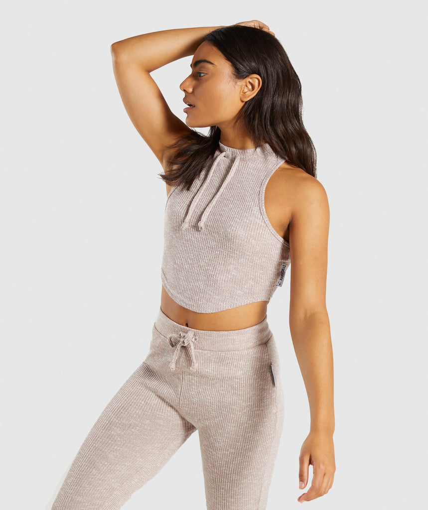 Gymshark Slounge Crop Top - Taupe Marl 1