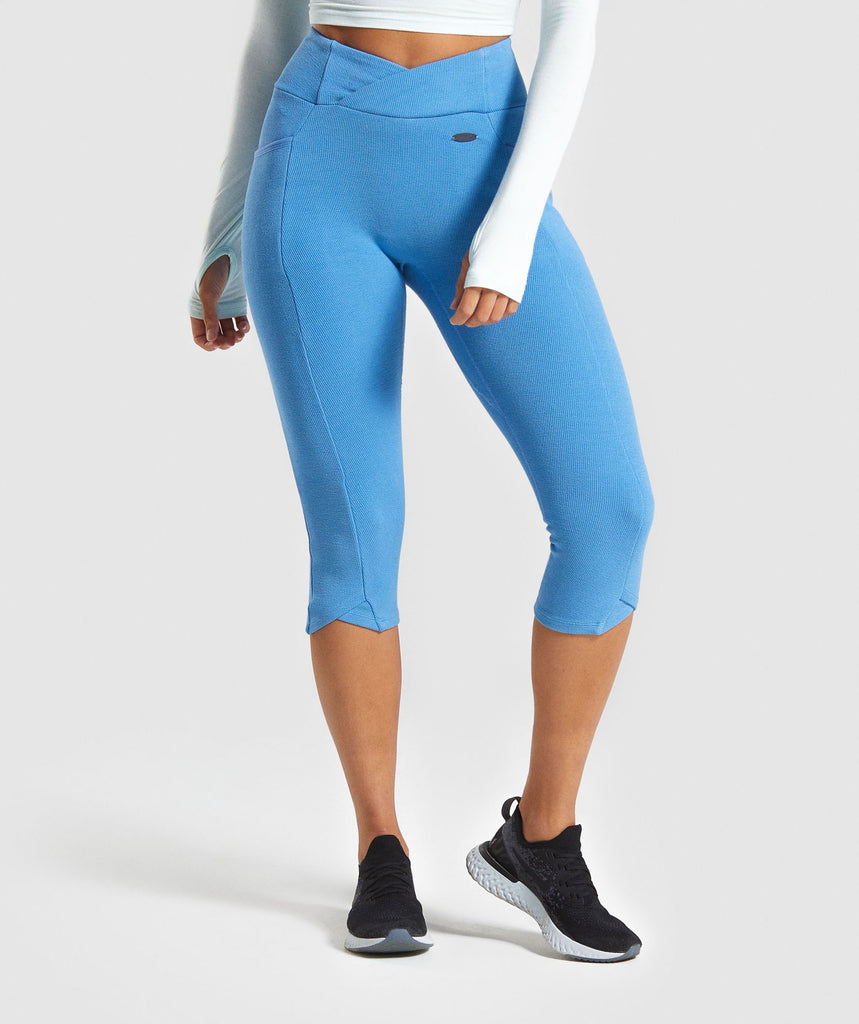 Gymshark Poise Cropped Leggings - Blue 1