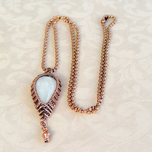 Moonstone Wire Wrapped Copper Pendant Necklace Copper Wire Wrapped Pendant Necklace Michelle Louise Inspirations
