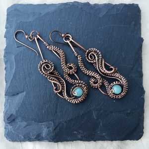 Ocean Wave Wire Wrapped Amazonite Earrings Wire Wrapped Earring Michelle Louise Inspirations