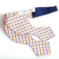 Navy & Orange Gingham Traditional Bowtie (Made in the USA)