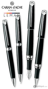 Caran dAche Léman Mechanical Pencil in Ebony Black Lacquer Silver Plated and Rhodium Coated - 0.7mm Mechanical Pencil