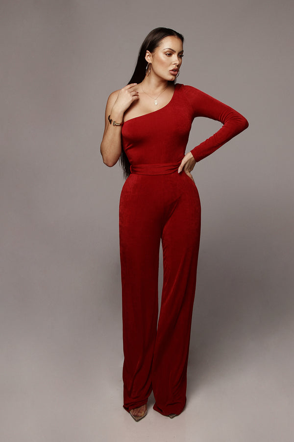 Red Johanna Bare Shoulder Jumpsuit