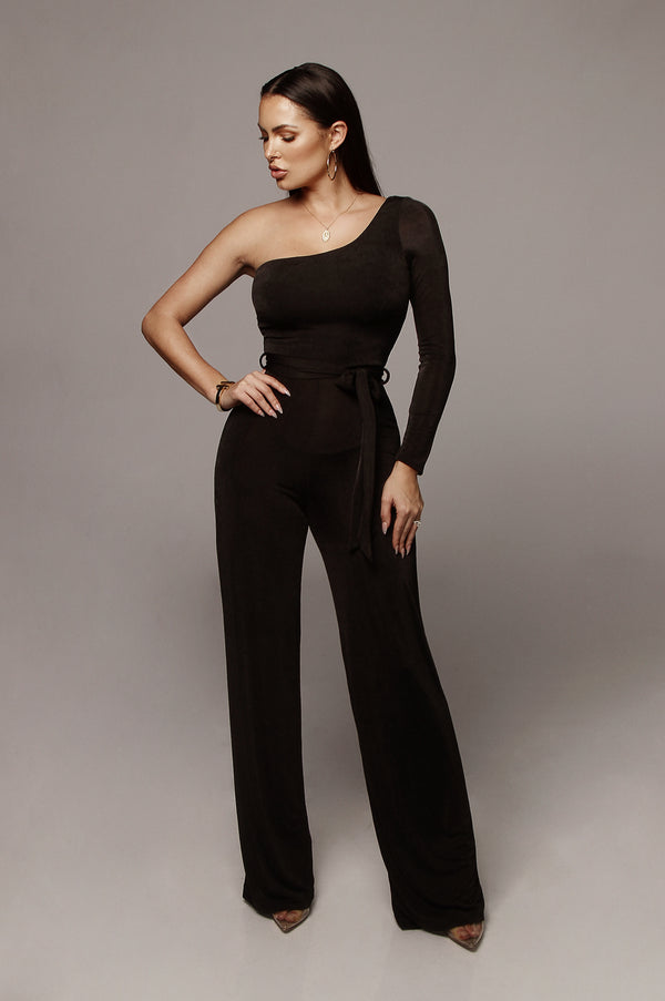 Black Johanna Bare Shoulder Jumpsuit