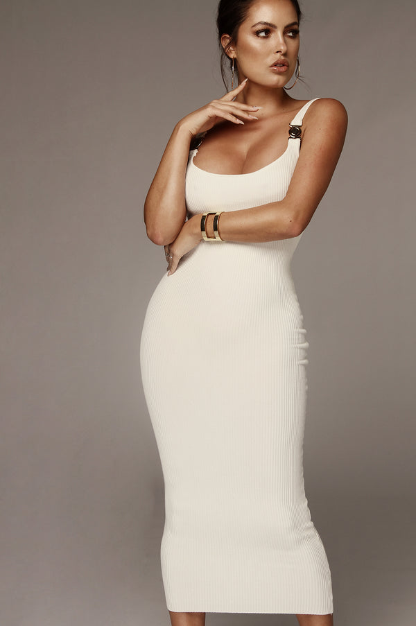 Ivory Criss Gold Detail Strap Ribbed Dress