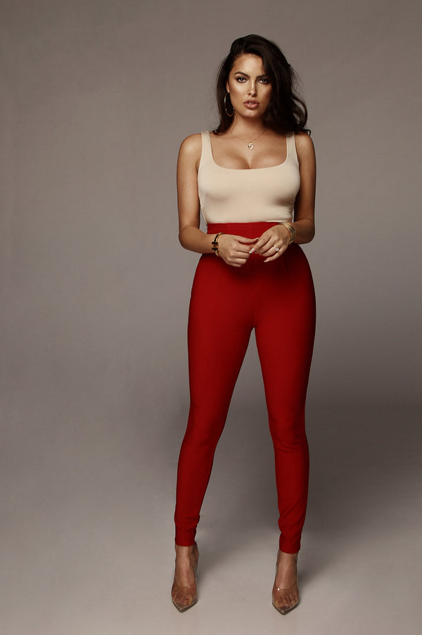 Red Ultra High Waisted Skinny Pants