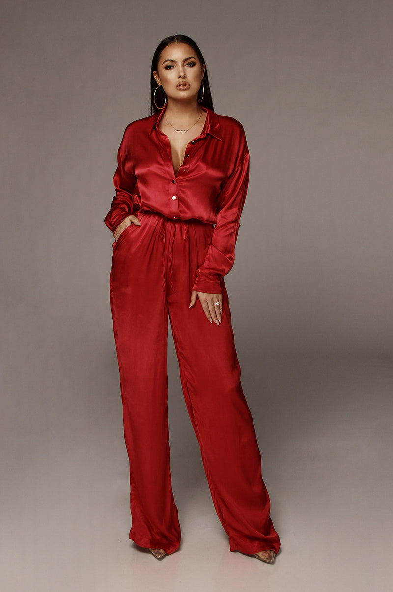 Red Victoria Silk Jumpsuit