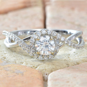 14K White gold twist shank diamond engagement ring