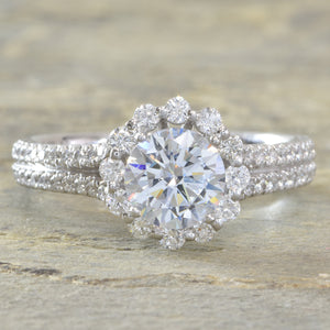 14K White gold split shank halo diamond engagement ring