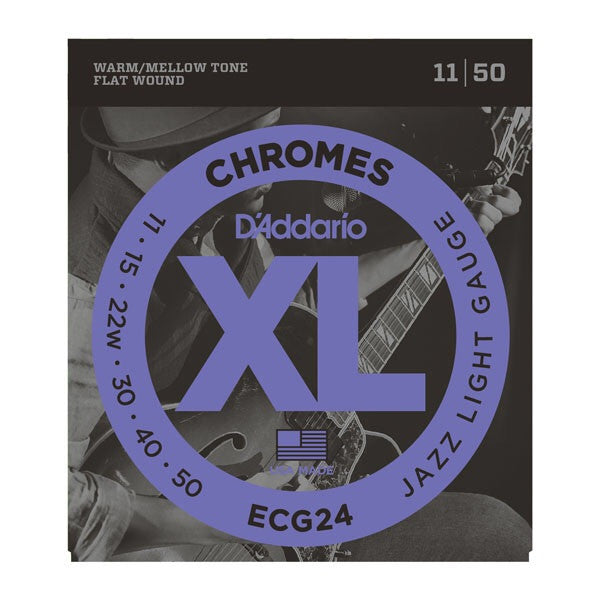 D'Addario XL Chromes Flat Wound Electric Guitar Strings