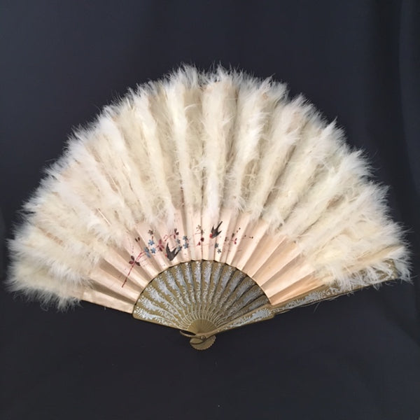 antique victorian edwardian chinese hand painted silk ostrich marabou feather court fan eventail