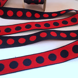 "FRENCH Black Red 1"" Large Polka Dot Ribbon Circus Clown Vintage Costuming Cotton 1940s Pin Up Girl Burlesque Showgirl"