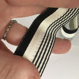 "FRENCH Black White Seersucker Ruffle 1"" Ribbon Striped Vintage Costuming Cotton 1940s Pin Up Girl Burlesque Showgirl"