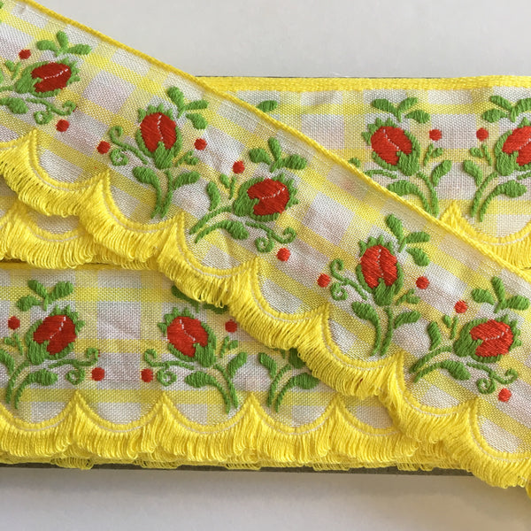 "Vintage Yellow White Plaid Red Rose Swag Fringe Dirndl 1 5/8"" Trim Ribbon"