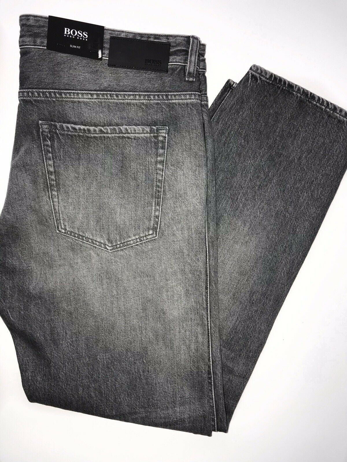 NWT $178 Hugo Boss Men's Delaware Slim Fit Cotton Grey Jeans Pants Size 38/32